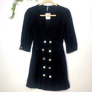 NWT! Free People Black Cotton Dress Abalone Button